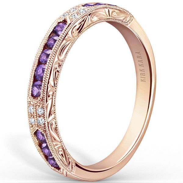 "Kirk Kara ""Charlotte"" Purple Amethyst Wedding Ring in 18kt Rose Gold"