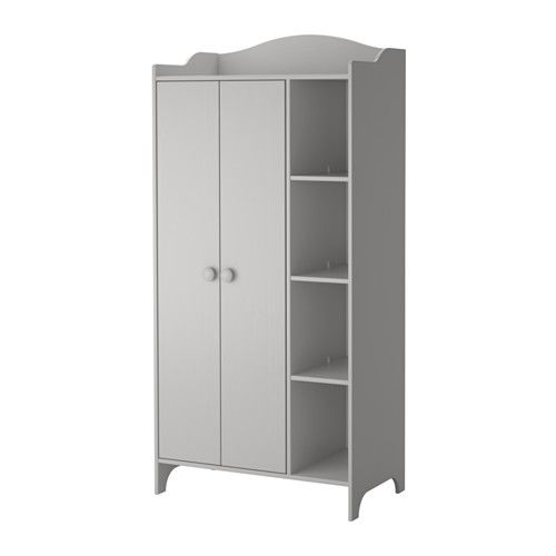 IKEA - TROGEN, Wardrobe, , You can adjust the shelves and clothes rails to suit your needs. Full-length adult clothes will fit if the lower rail is removed.The wardrobe is roomy and deep enough to hold adult hangers.The open shelves are ideal for folded clothes, books or a large collection of your child's drawings.