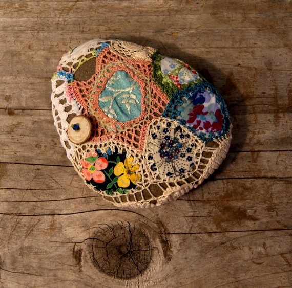 Crochet covered patchwork beach stone by Stitch Happens
