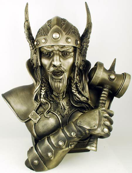 "Thor bust 14"" Fully capturing this fierce aspect of, this cold cast resin bust presents the head and shoulders of Thor, with a single arm rising up to cross his chest, its hand gripping the fabled hammer Mjolnir   $60.95 To purchase this item please visit our website, We appreciate your business. Namaste http://emeraldisleub.com/products/thor-bust-14"