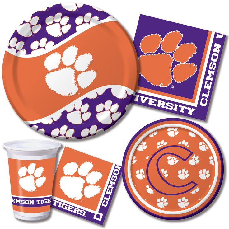 """Clemson University Party Tableware  Go wild with these Clemson Tiger party supplies. Cheer on your team while the band plays """"Hold that Tiger!""""  http://www.ktpartysupply.com/collections/clemson-university-college-party-supplies"""