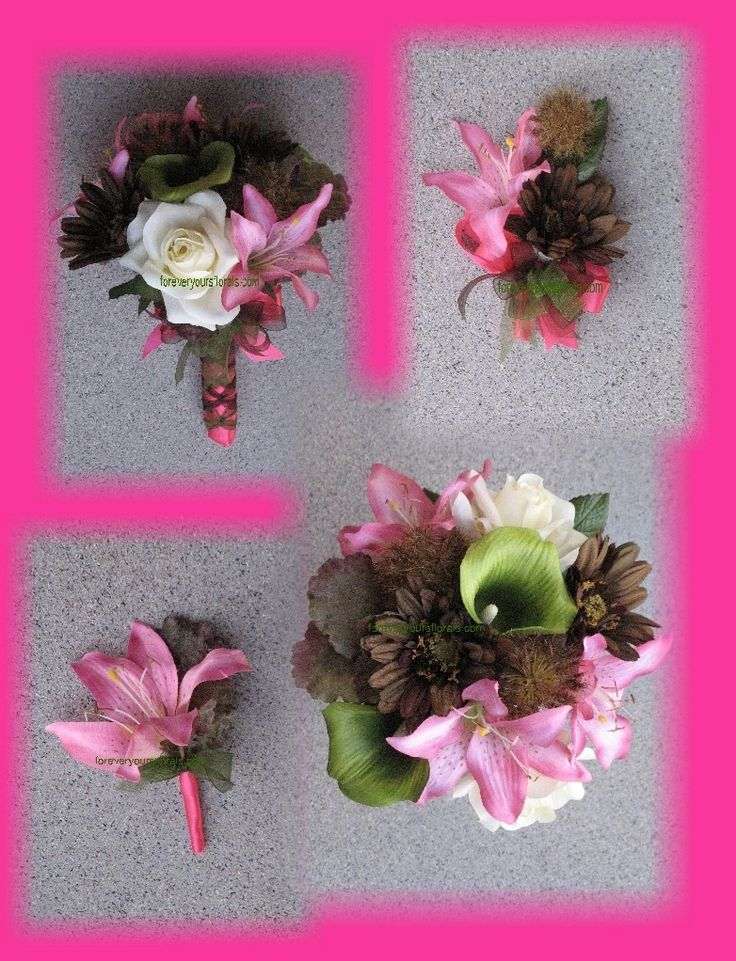 camo wedding flowers | Hot Pink Mossy Oak Wedding Bouquets, Camo Bouquets