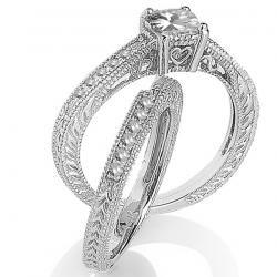 0.80 Carat (ctw) 14k White Gold Round & Princess Diamond Ladies Bridal Set Engagement with Matching Band Ring – Dazzling Rock