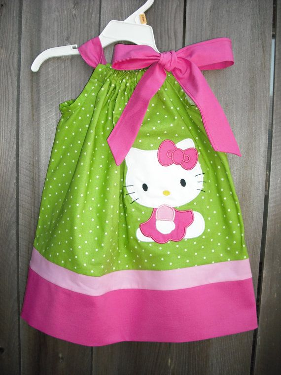 New Hello Kitty pillowcase Dress by mycutebabystore1 on Etsy, $27.00. I I only had a girl ;)