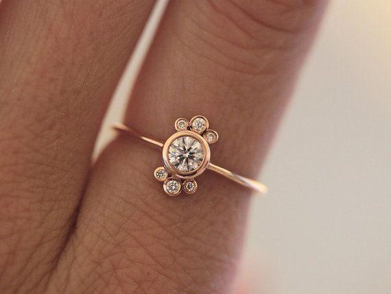 Rose Gold Diamant Ring Runde Diamant Ring Lunette Floralen Diamant Ring 18k Rose Gold Bijoux Bijou Joaillerie Bijoux Cailloux