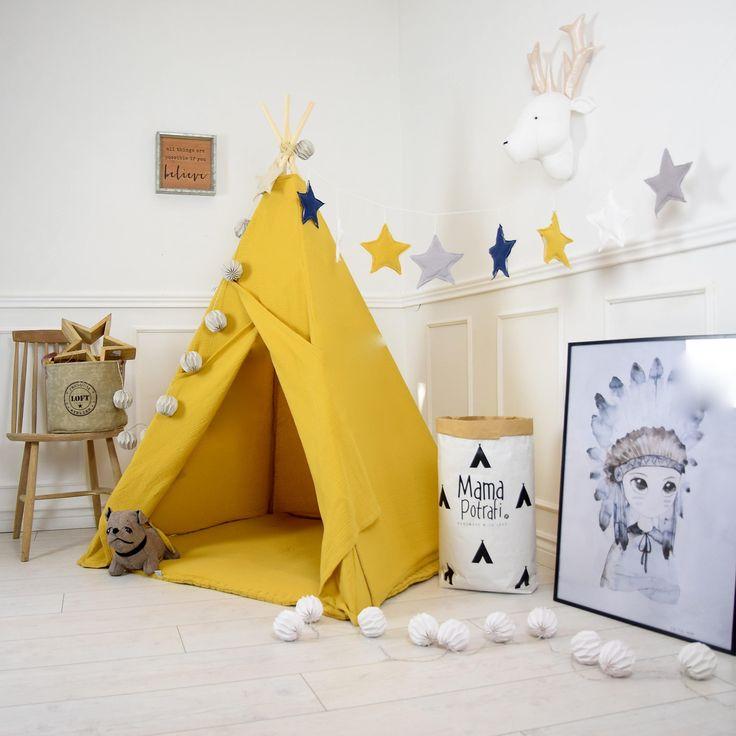 Boho Teepee, Muslin Teepee Tent, Play Tent, Play Mat, Kids Furniture, Childrens Teepee, Christmas Gift, Natural Teepee, Mustard Tent, Wigwam