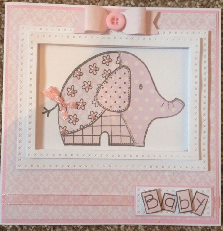 Paper piecing using woodware stamp for new baby