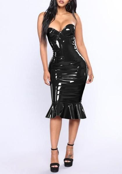 3a3859c42c5 Black Ruffle PU-Leather Off Shoulder Mermaid Latex Bodycon Clubwear Party  Midi Dress