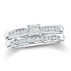3/4 CT. T.W. Princess-Cut Diamond Bridal Set in 14K White Gold - View All Rings - Zales: Wedding Family, Wedding Engagement Ideas, Wedding Families