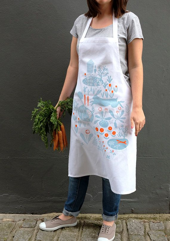 Allotment Print Apron, screen printed