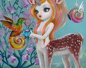 Primavera magica Simona stampa firmata Candini Fantasy occhioni arte Pop surreale Centaurus Lowbrow cervi
