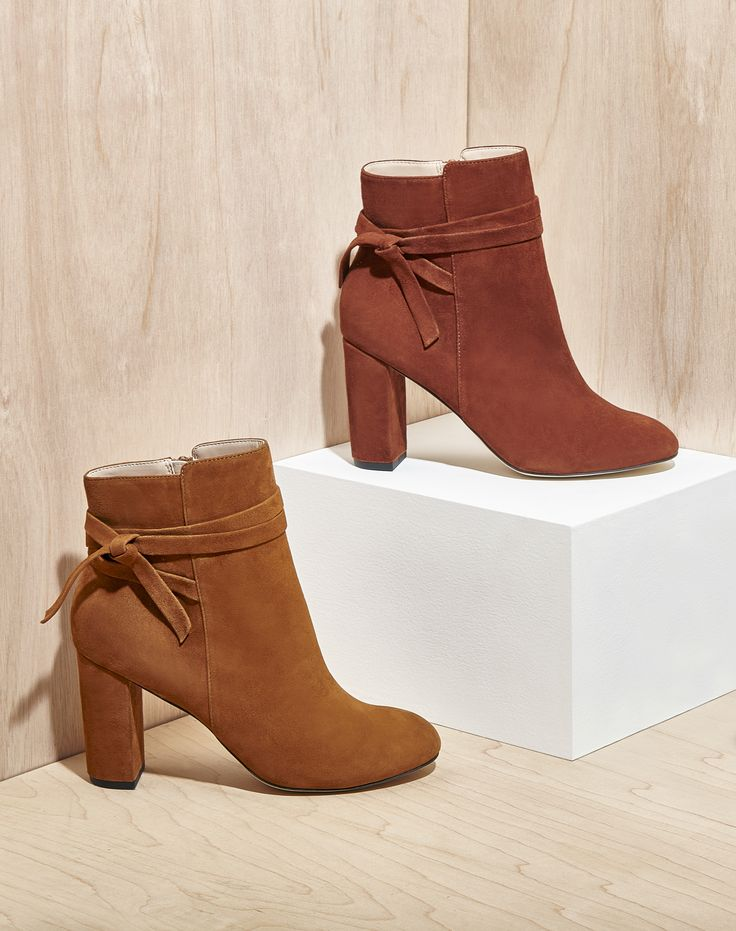 Suede booties with wraparound ankle ties
