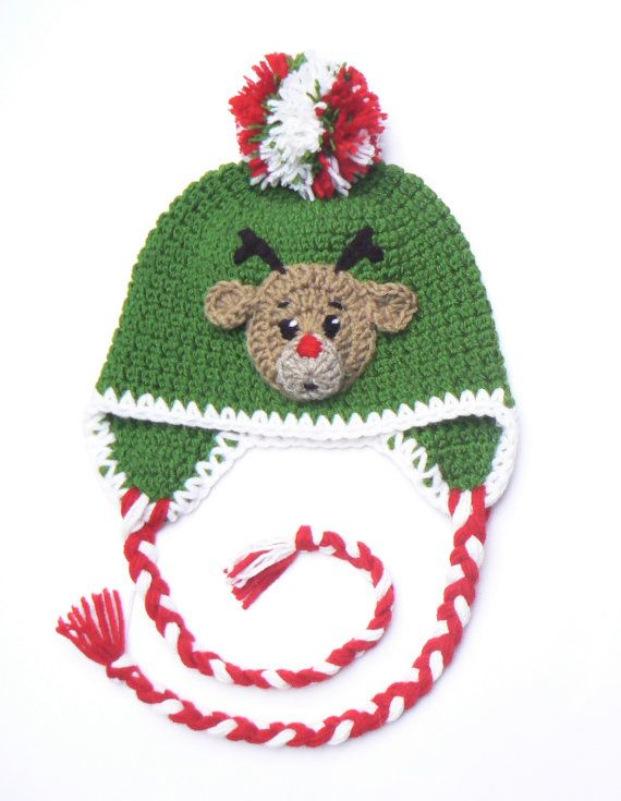 Kids Christmas Hat with ReindeerToddler Child Crochet by 2mice
