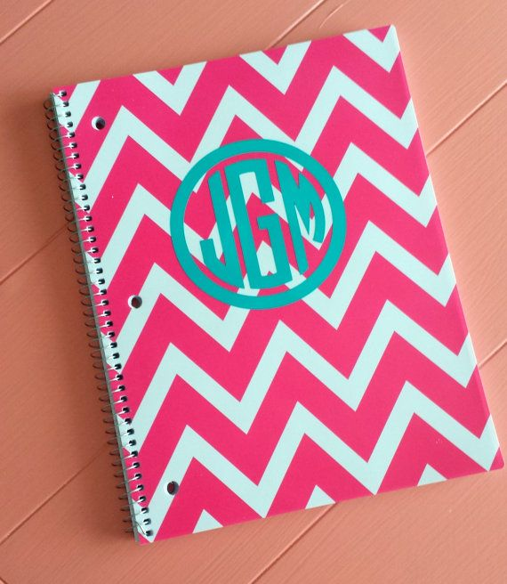 Monogram and Chevron Spiral Notebook Pink......back to school.  Found these chevron notebooks and matching pocket folders at Walmart in red, pnk, teal, black, and green!  I go to Walmart maybe twice a year but will be going back and getting all I can of these in every color!  Each were only $.97 and the top cover is pliable plastic perfect for these vinyl stickers not the cheapo limbo cardstock paper cover!  These notebooks are selling for $7-$12 each on etsy!!  Make your own!