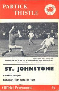 Partick Th. 2 St Johnstone 1 in Oct 1971 at Firhill. The programme cover #ScotDiv1