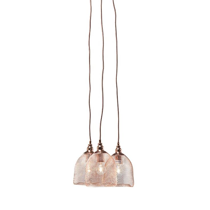 Industrial luxe copper mesh triple pendant light, dwell