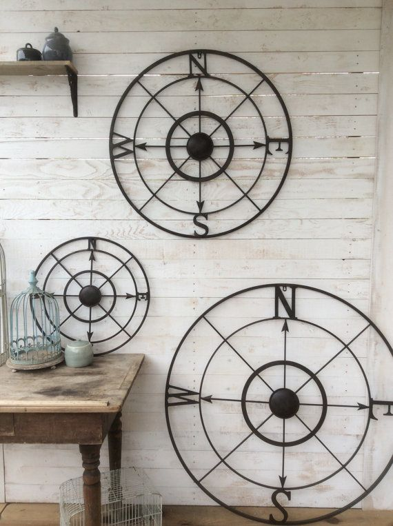 Nautical Wall Decor Metal Compass Wall Art by CamillaCotton
