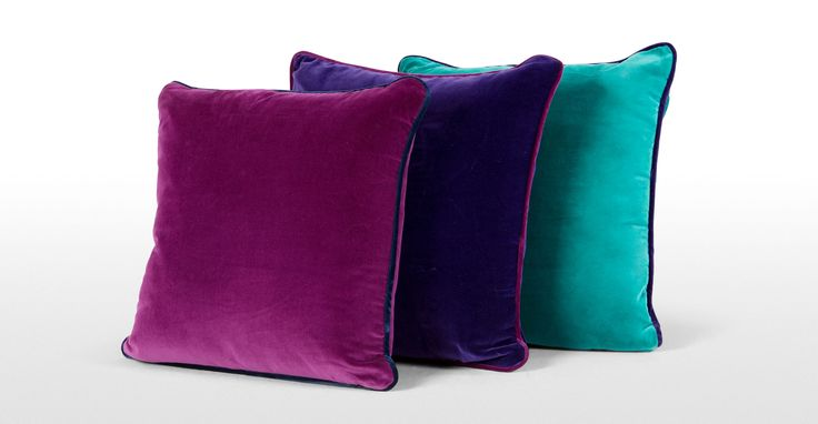 Mya Cotton Velvet Cushion 50cm x 50cm, Teal with Purple Piping | made.com