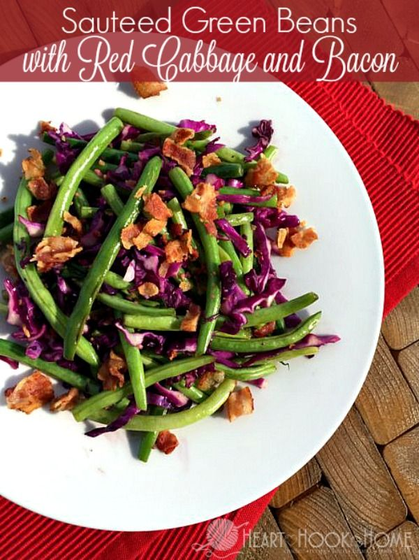 Sauteed Green Beans with Red Cabbage and Bacon http://hearthookhome.com/sauteed-green-beans-red-cabbage-bacon/?utm_campaign=coschedule&utm_source=pinterest&utm_medium=Ashlea%20K%20-%20Heart%2C%20Hook%2C%20Home&utm_content=Sauteed%20Green%20Beans%20with%20Red%20Cabbage%20and%20Bacon