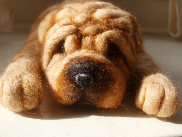 Needle Felted Dog Shar Pei Dog Sculpture -Vinny - OOaK - Artist Soft Sculpture by LaCharmour on Etsy https://www.etsy.com/listing/183085110/needle-felted-dog-shar-pei-dog-sculpture