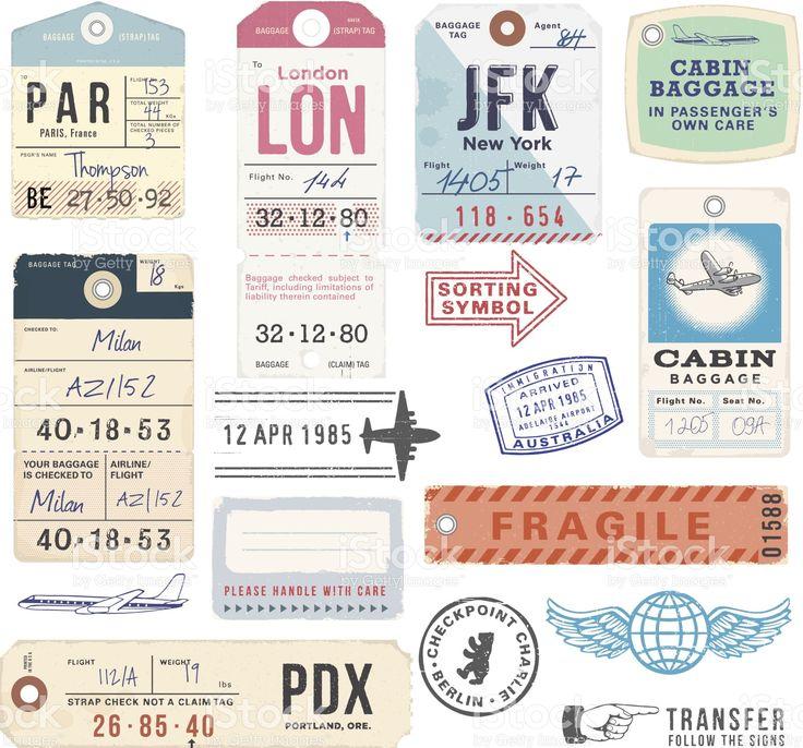 Vintage sellos y etiquetas de equipaje illustracion libre de derechos libre de derechos