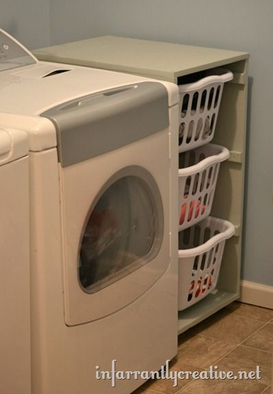 Laundry Basket Dresser - add wheels to roll out for easy cleaning. Building instructions and measurements included.