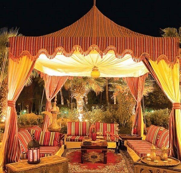Moroccan Patio Decor Ideas Tent Carpet Seating Area Lanterns Outdoor Decor Moroccan Tent Moroccan Interiors