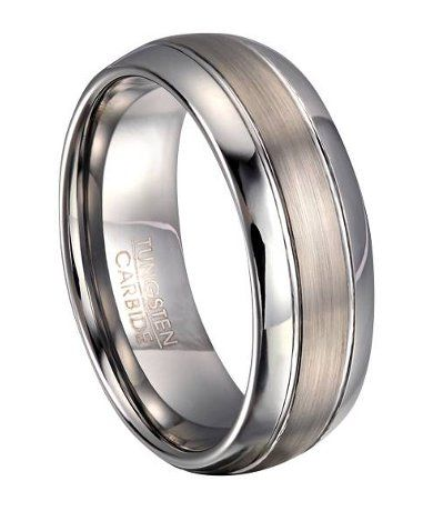 Tungsten Comfort Fit Wedding Ring For Men With Domed Profile
