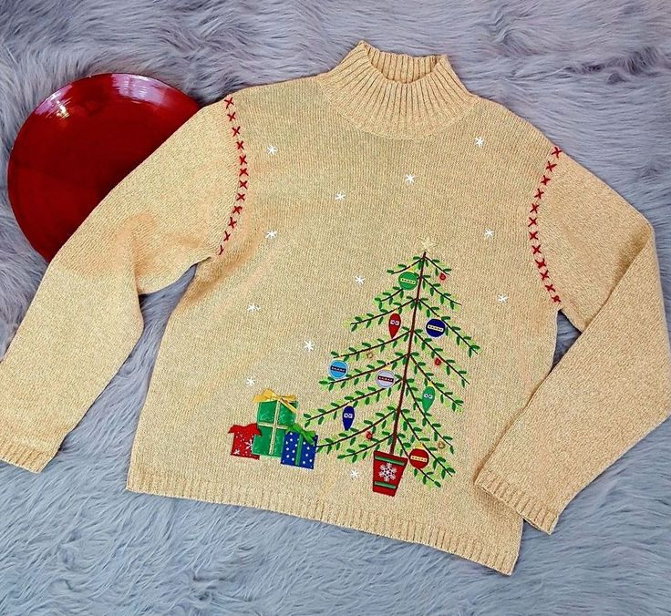 Crystal Kobe Womens Christmas Sweater Large Tan Tree Bells Holiday Embroidered #CrystalKobe #Sweater #Christmas
