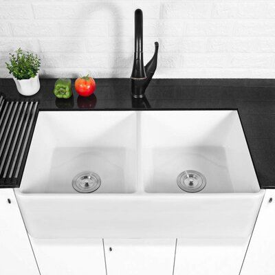 Renist 32 L X 20 W Double Basin Farmhouse Kitchen Sink With Basket Strainer In 2020 Farmhouse Kitchen Decor Modern Farmhouse Kitchens Farmhouse Sink Kitchen