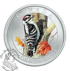 Coin Gallery London Store - Canada: 2008 25 Cents Downy Woodpecker Coloured Coin, $249.95
