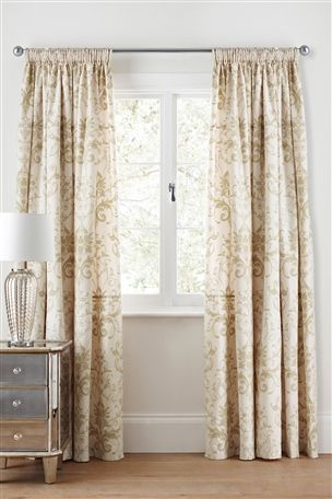 Buy Gold Damask Pencil Pleat Curtains from the Next UK online shop