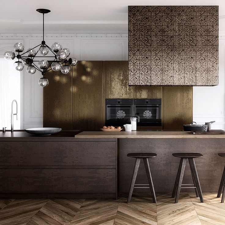 From warm copper to burnished brass, metal surfaces are a big trend for 2016. Take the look to new levels by combining different finishes. This 'Parisian' kitchen by Krieder features units coated with a mottled gold metallic lacquer and a porcelain worktop in a speckled iron-copper effect. The extractor hood has been finished with antique American tin tiles. Rockett St George's are a good match (£19 per tile; rockettstgeorge.co.uk). 'Parisian' kitchen, from £65,000, Krieder (krieder.com)