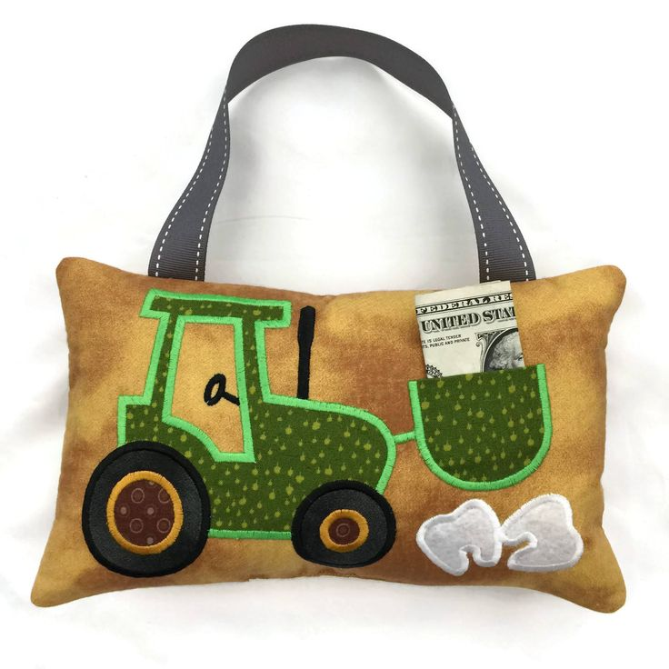 Tractor Tooth Fairy Pillow - My Tooth Fairy - Tooth Fairy Door Hanger - Tooth Pillow - First Lost Tooth by NancysLittleBoutique on Etsy