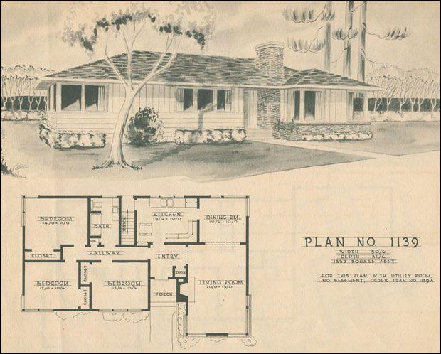 Mid Century Modern House Plans 1950 Modern Ranch Style