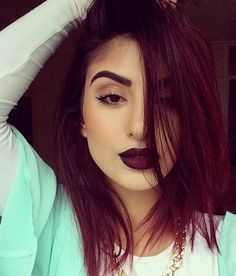 Definitely doing this hair color next... I love the burgundy hair !
