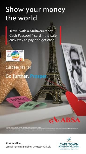 Before you jet off to your next destination, pop by Absa at Cape Town International Airport to find out more information on the Multi-Currency Cash Passport card! #femalegears.com #random #lovethese #shopping #women #female
