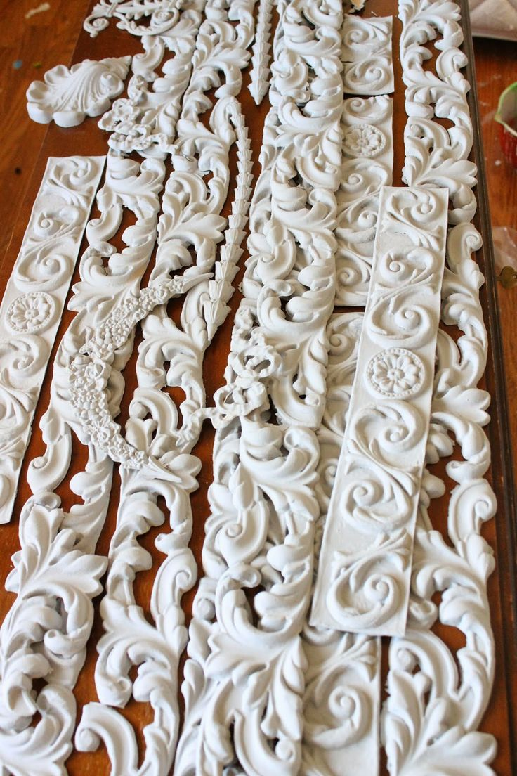 Painted moldings before glueing. REad more on Victoria's blog Trios Petites Filles My Dream Bed http://triospetitesfilles.blogspot.com
