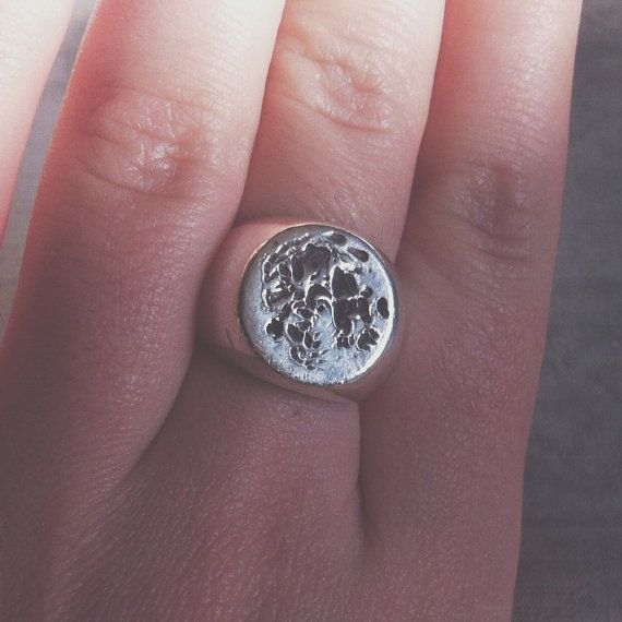 Full Moon Phases Lunar Face Sterling Silver 925 Signet Ring