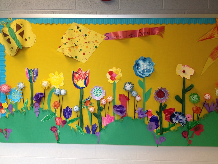 Spring Classroom Decorations To Make : Spring flower bulletin board pre school children made