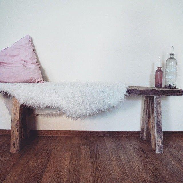 Sjiek houten bankje gemaakt van gerecycled hout!