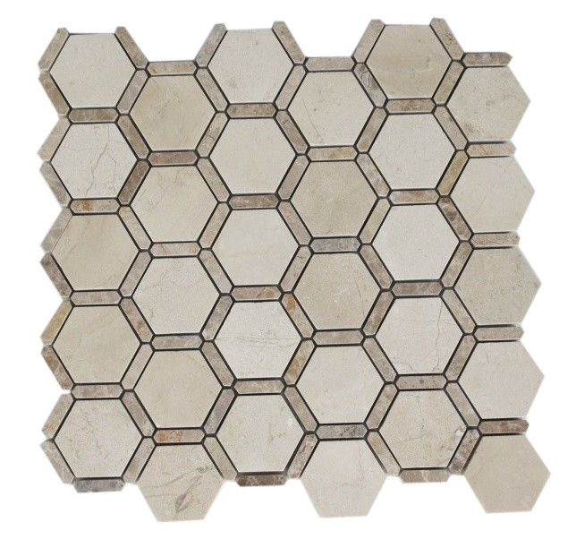 This beautiful honeycomb pattern is ideal for a kitchen backsplash. See more kitchen backsplash design ideas at http://www.glasstilestore.com
