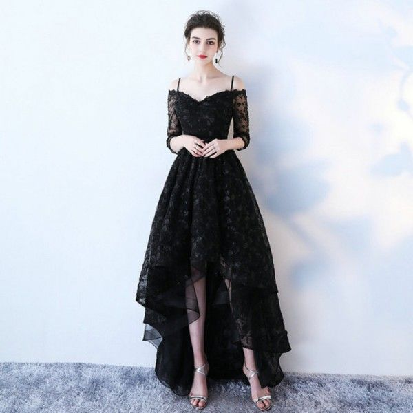 155bfed1c Buy Lamya High Low Prom Dress Boat Neck With Half Sleeve Evening Party  Dresses Women Black Lace Formal Gown