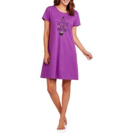 Secret Treasures Women's Halloween Pajama Short Sleeve Sleep Shirt, Purple