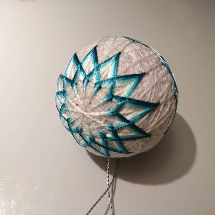 """8 Likes, 1 Comments - Raluca Ioana Simonffy (@ralucamorena) on Instagram: """"This #temari I just #finished was #handmade as a #xmas #present. #blue #shades #handcraft…"""""""