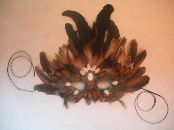 Handmade Feather Masquerade Mask