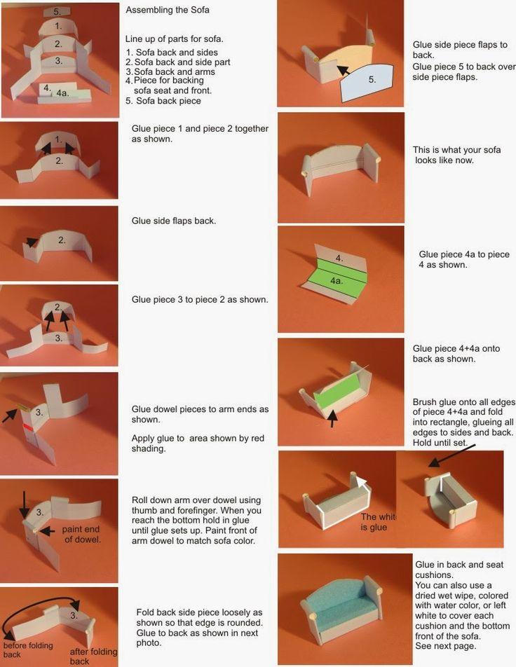 Paper Crafts made with paper: Mini Quarter Scale Furniture