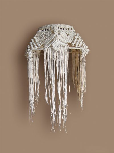 Wall light, exclusively hand made with macramé knot lace of white linen yarn