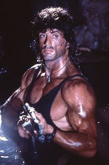 Rambo is an action film series based on the David Morrell novel First Blood and starring Sylvester Stallone as John Rambo, a troubled Vietnam War veteran and former Green Beret who is skilled in many aspects of survival, weaponry, hand to hand combat, and guerrilla warfare. The series consists of the films First Blood (1982), Rambo: First Blood Part II (1985), Rambo III (1988), and Rambo (2008).