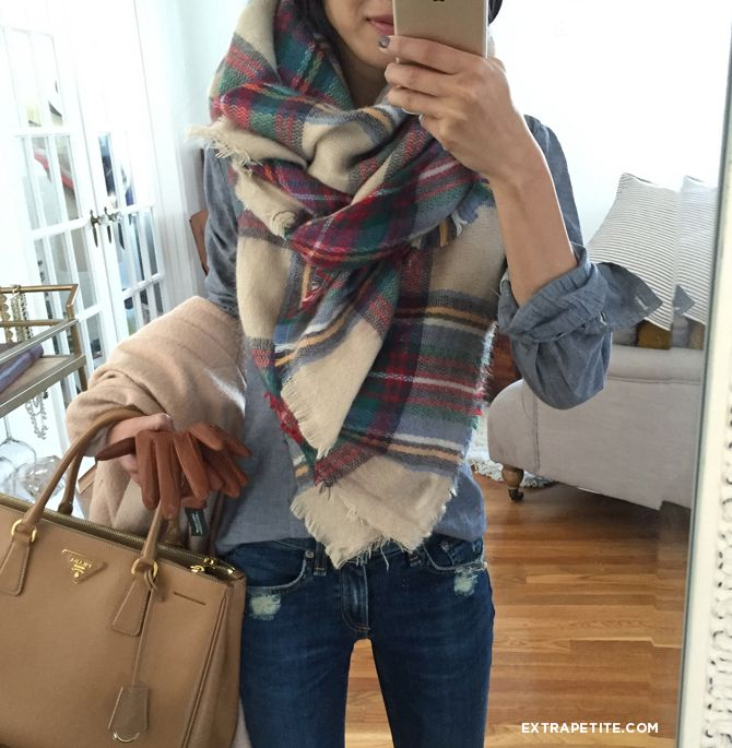 casual cold weather (fall/winter) outfit with blanket scarf, chambray shirt, skinny jeans, tote bag. Full video tutorial on how to tie a blanket scarf on my blog!